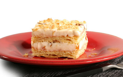 Mille Feuille with yoghurt and peaches