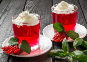 Strawberry Jelly with Mint and Vanilla Creme